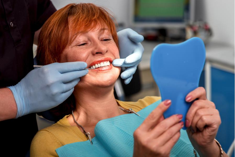 Woman having a dental exam